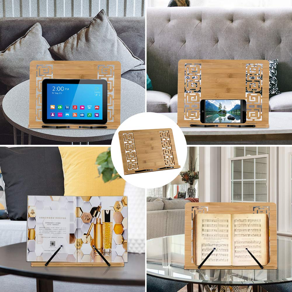 Green House 15.2x11.2 Adjustable Foldable Wood Cookbook Recipe Book Holder for Kitchen Large Bamboo Book Stand Textbooks Document Desktop Reading Rest Stand-Vintage Hollow Pattern