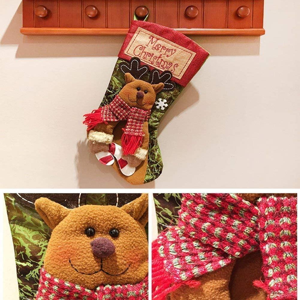 LEKAMXING Christmas Stockings 3Pcs Set Decoration for Santa Snowman Reindeer Xmas Character Party Accessory 46CM