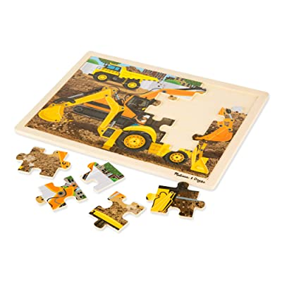Melissa & Doug Construction Vehicles Wooden Jigsaw Puzzle with Storage Tray (24 Pieces, Great Gift for Girls and Boys - Best for 3, 4, and 5 Year Olds): Melissa & Doug: Toys & Games
