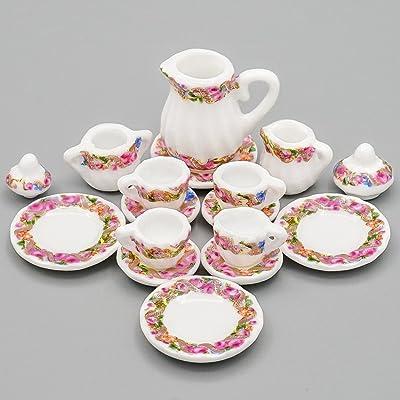 Odoria 1:12 Miniature 15PCS Purple Porcelain Chintz Tea Cup Set Dollhouse Kitchen Accessories: Toys & Games