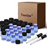 Essential Oils Sample Bottles, Teenitor 36 Pcs 2 ml (5/8 Dram) Cobalt Blue Oil Bottles For Essential oils, Amber Glass Vials With 2 Free Glass Transfer Eye droppers