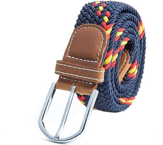 RAU Cinturon con la bandera de españa trenzado elástico (talla desede la 100 a 130): Amazon.es: Ropa y accesorios