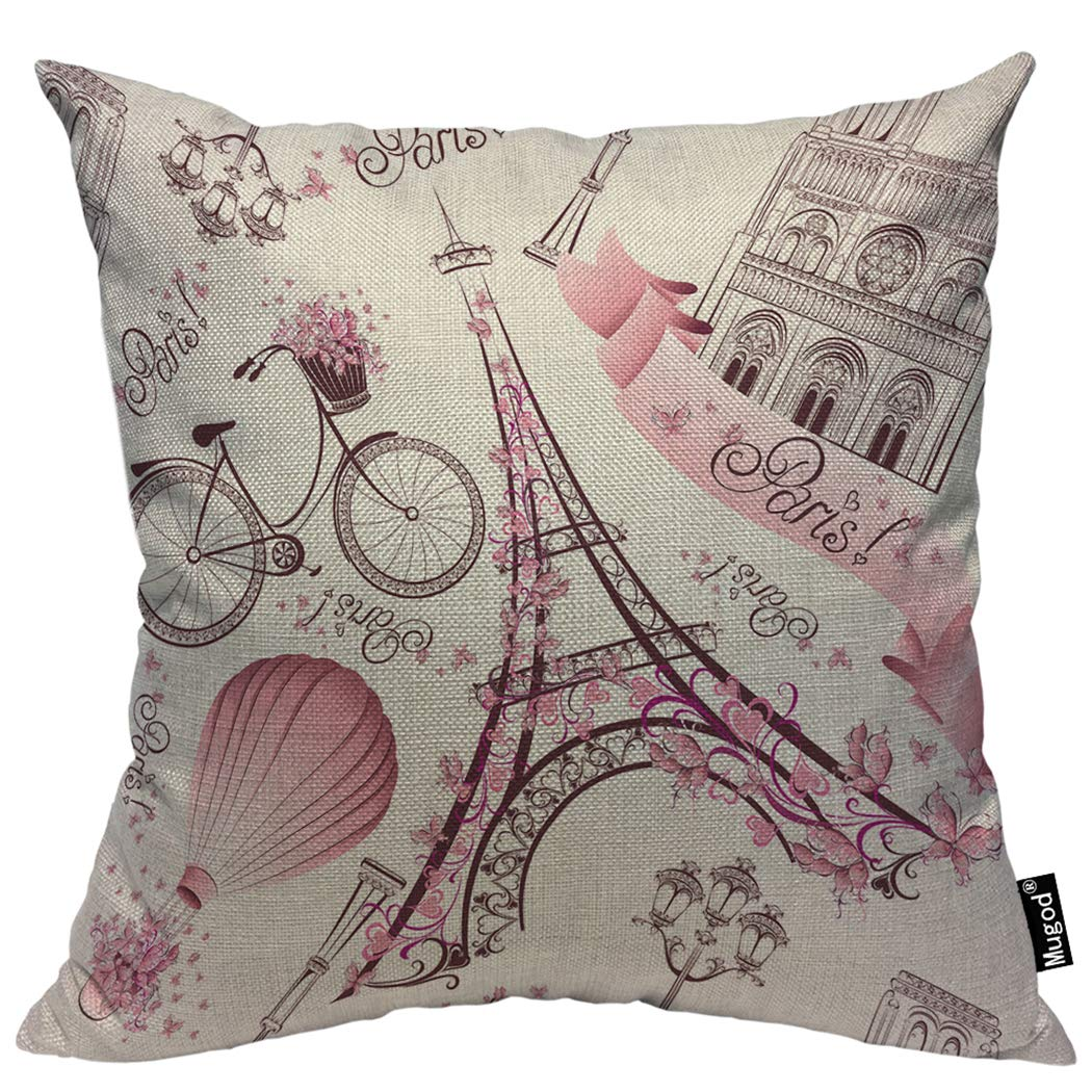 Mugod パリのシンボル クッションカバー ロマンチック 旅行 エッフェル塔 熱気球 自転車 ピンク 装飾枕カバー 正方形 コットンリネン クッションカバー ホームベッド ソファ カウチ用 16×16インチ 18x18 Inch YELP-MPL-E290 18x18 Inch E289-1 B07M5T1KFR