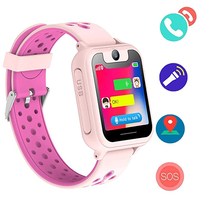 Bohongde Kids SmartWatch LBS Tracker Watch Phone with SOS, Camera, 1.44 HD Screen ,Games for 3-12 Year Old Boys Girls Great Gift (Pink, S6)