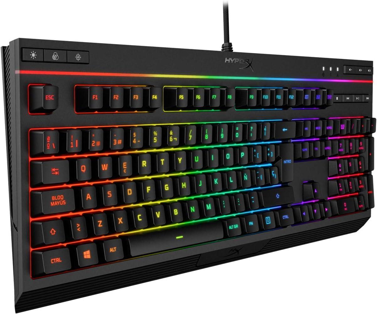 HyperX Alloy Core RGB - Teclado de membrana para videojuegos - Silencioso y Receptivo - Plug & Play - Teclas Retroiluminadas RGB de 5 Zonas - ...