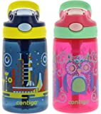 Contigo Kids Autospout Gizmo Water Bottle, 14oz - Leak and Spill Proof Bottles, Ideal for Travel & Activities, Easy-Clean and Dishwasher Safe - Nautical Blue in Space & Sprinkles Owl Graphic