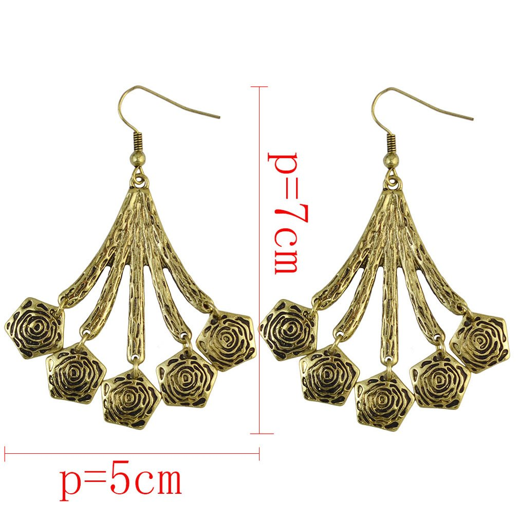 Jinxian Gold Plated Drop Earrings Vintage Dangling Studs Boho Hook