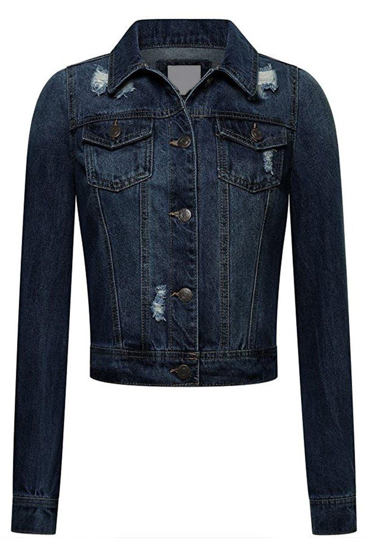 FASHION BOOMY Women's Button Down Long Sleeve Classic Outerwear Denim Jacket (Medium, R_Dark)