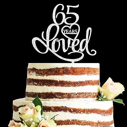 Phenomenal Zmtc Glitter Silver Acrylic 65 Years Loved Cake Topper 65Th Funny Birthday Cards Online Drosicarndamsfinfo