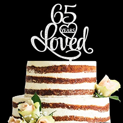 Amazon Glitter Silver Acrylic 65 Years Loved Cake Topper 65th