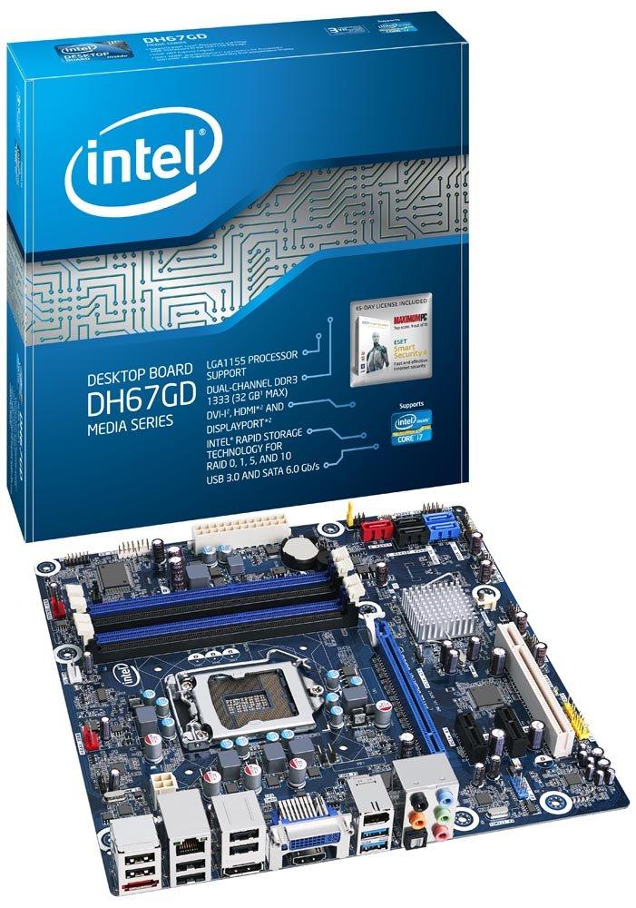 Boxed Intel Desktop Board Media Series Micro-ATX form factor for 2nd Gen Intel Core Family Processors BOXDH67GDB3 by Intel