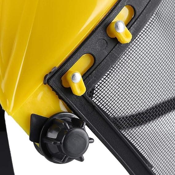Casco de registro - Casco de seguridad Sombrero con protección de protección facial completa Máscara de seguridad Visera de malla ajustable para ...