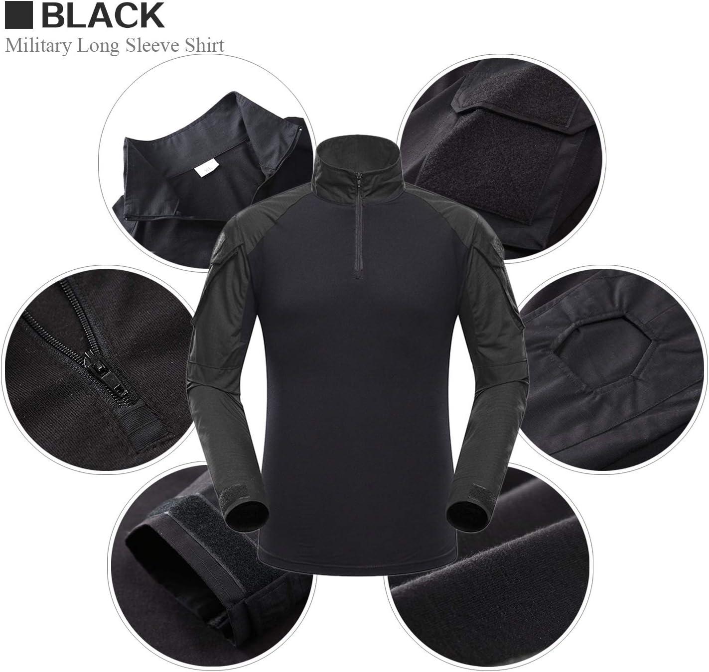 LHHMZ Camisa de Manga Larga Militar para Hombres Caza de Combate Negra Caminatas de Tiro con Cremallera para Uso Informal y al Aire Libre