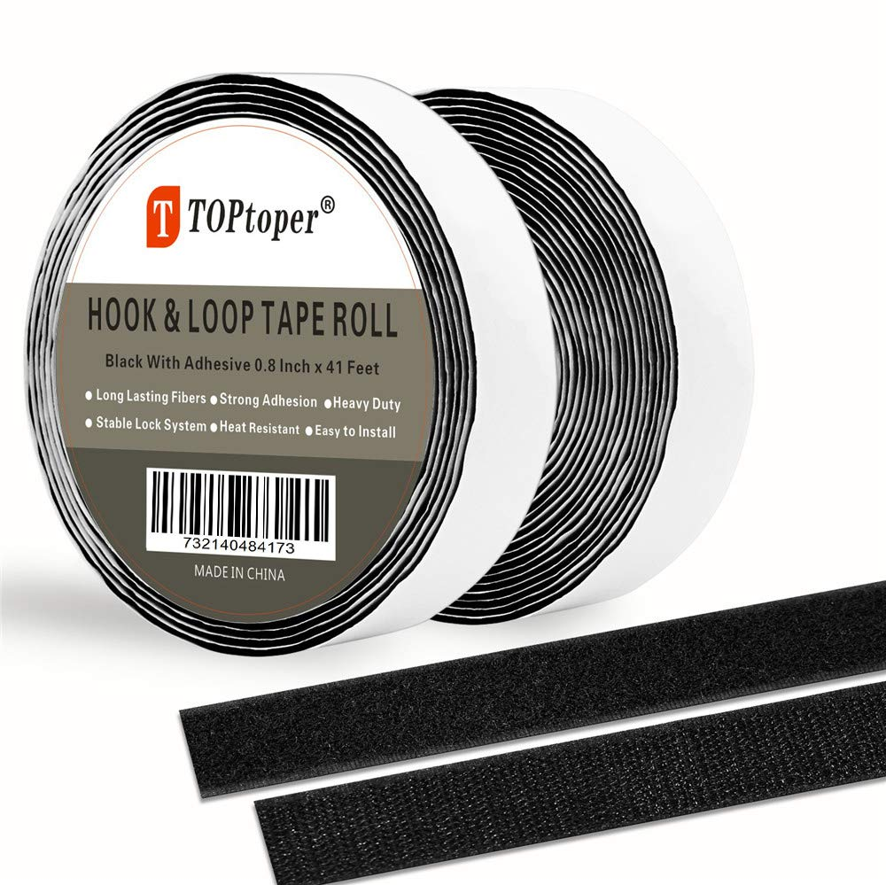 2 Inch Hook and Loop Fasteners by TOPtoper Self Back Adhesive Tape Roll Strips 16.5 Feet (2 Inch Black) DR-03