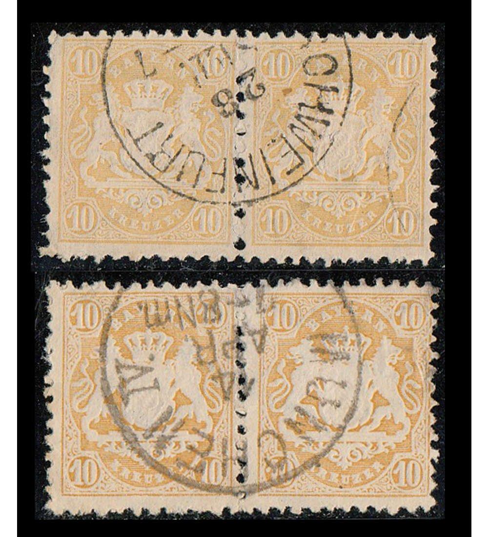 Goldhahn Bayern Dienst Nr. 29a+b gestempelt jeweils als waagerechtes waagerechtes waagerechtes Paar Briefmarken für Sammler 2dc9a9