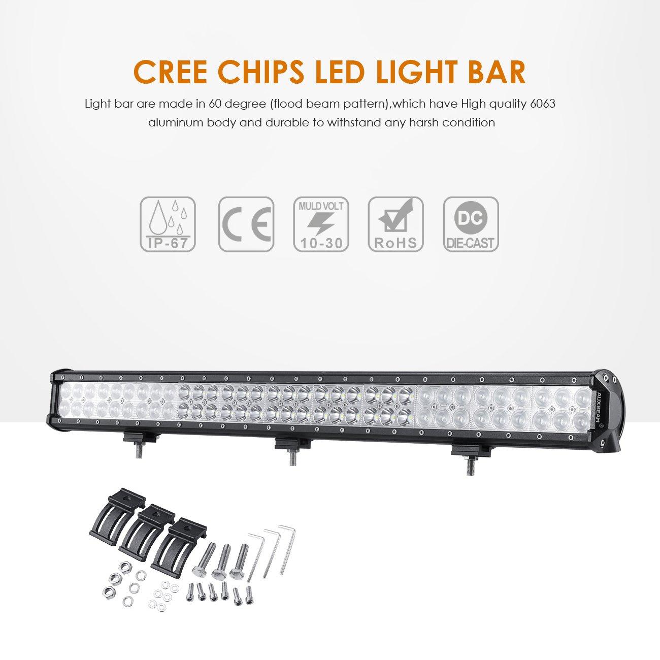 Auxbeam LED Light Bar 30 Inch LED Bar 198W Combo 66pcs 3W CREE ...