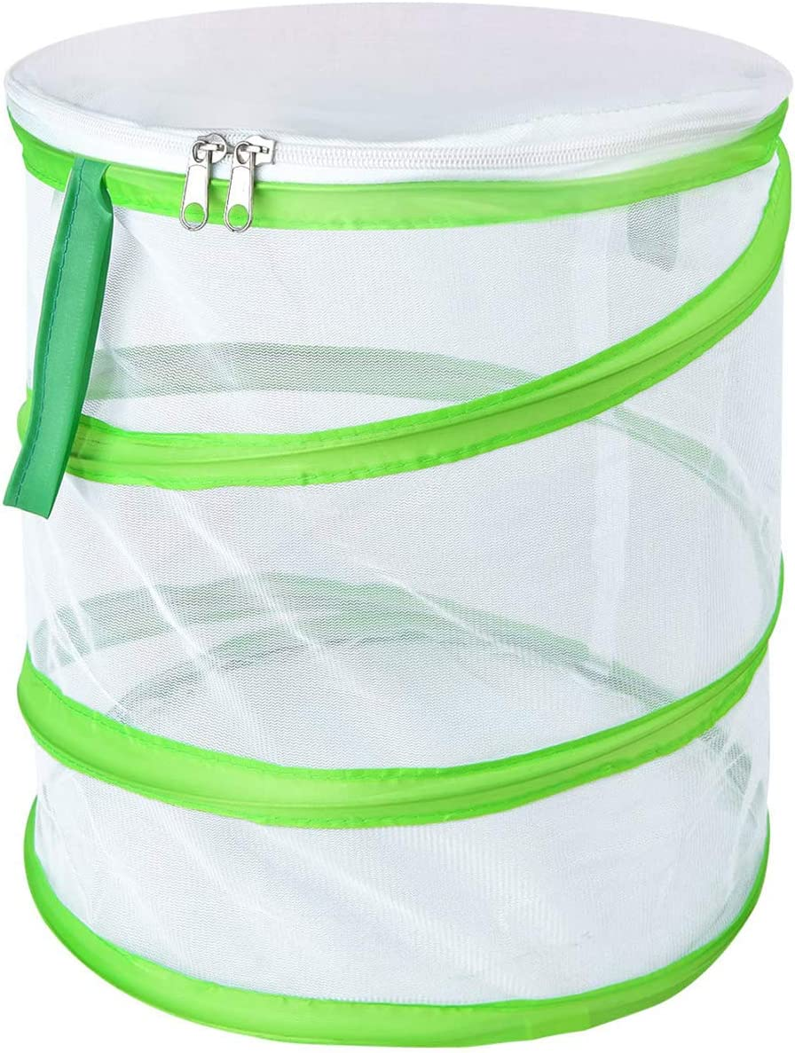 Alezywels Butterfly Habitat Insect Cage - Round Pop Up Mesh Net 12 x 14 Inches Tall with Side and Top Windows