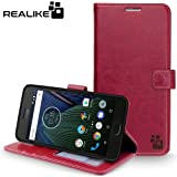 Moto G5 Cover, REALIKE™ {Imported} Shockproof Premium Leather Wallet Flip Case Cover For Moto G5 [Royal Wine]