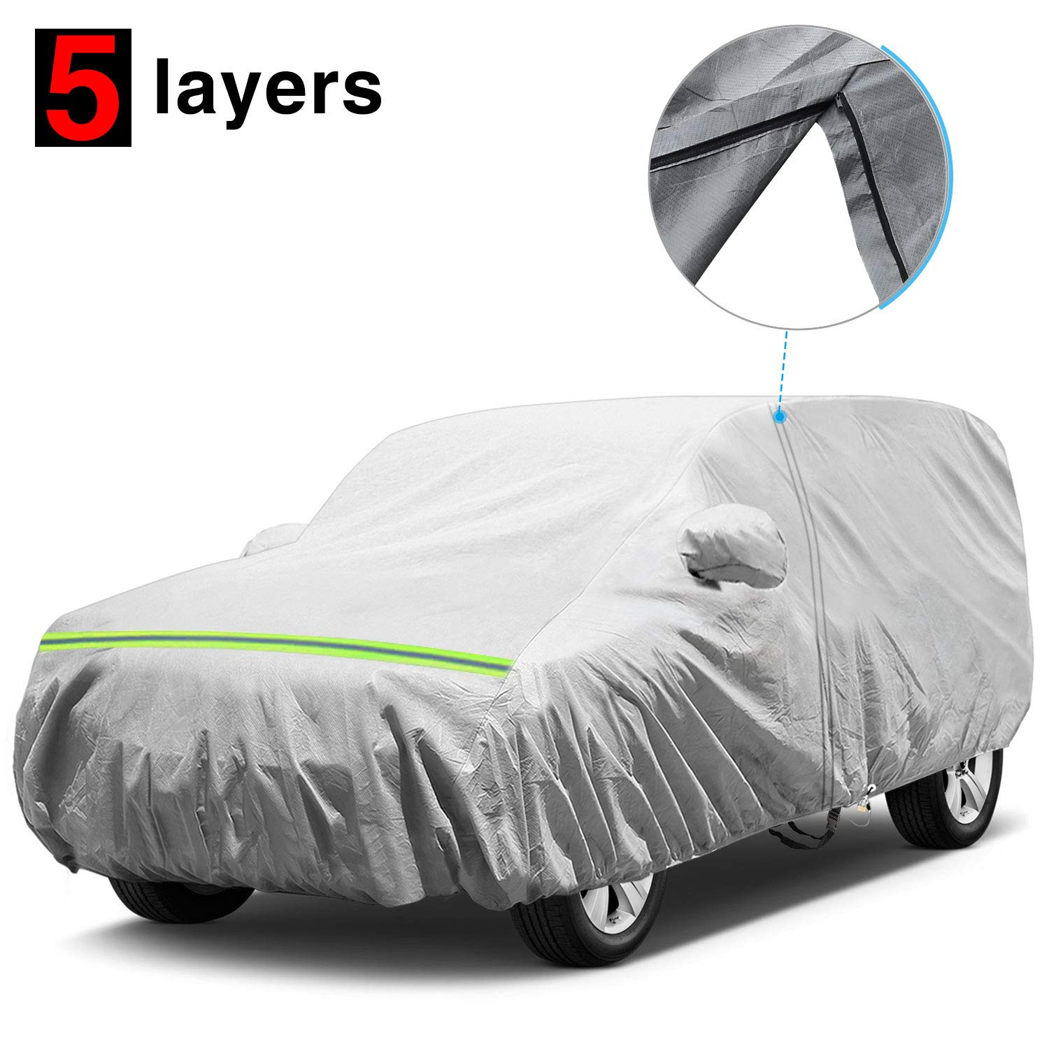 KAKIT Waterproof Jeep Cover, 5 Layers 4 Door All Weather UV Protection Car Cover for Jeep Wrangler with Driver Door Zipper, Fits up to 194''