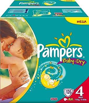PAMPERS Pañales Baby Dry Talla 4 maxi 7 – 18 kg Mega Pack 120 unidades.: Amazon.es: Salud y cuidado personal