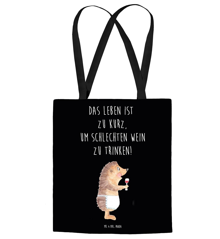 Mr. & Mrs. Panda Tragetasche Igel mit Wein - Wein Spruch, Igel, Geschenk Weintrinker, Geschenk Weinliebhaber, Wein Deko, Weinglas, Rotwein, Weißwein, Wein trinken Tragetasche, Tasche, Beutel, Jutetasche, Bag, Jutebeutel, Einkaufstasche, Motiv, Spruch,