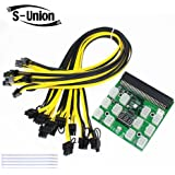 S Union Ethereum ETH ZEC Mining Power Supply 12V GPU/PSU Breakout Board + 12pcs 16AWG PCI E 6Pin to 6+2Pin Cables 27.5Inch Length(70CM, with 5 Nylon Cable Ties)