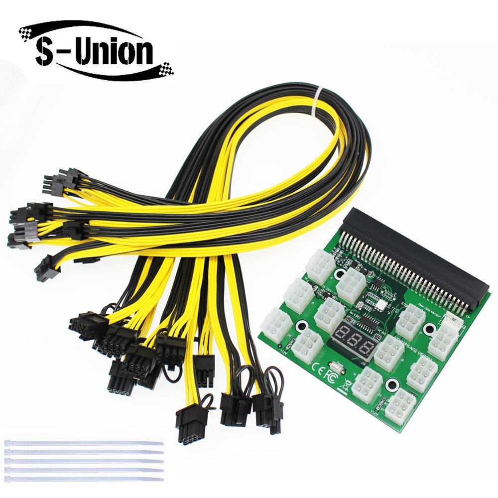 S-Union Ethereum ETH ZEC Mining Power Supply 12V GPU/PSU Breakout Board + 12pcs 16AWG PCI-E 6Pin to 6+2Pin Cables 27.5Inch Length(70CM, with 5 Nylon Cable Ties) by S-Union