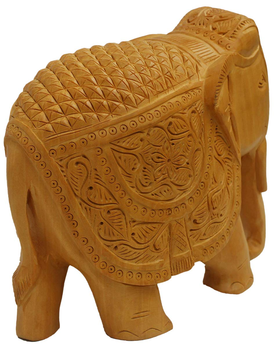 Hand Carved Wooden Collectible Figurine Sculpture Figure Table Centrepieces and Home Decoration for Living Room Office Decor Statue Crafkart Elephant Decor Statue