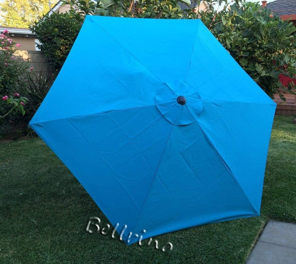BELLRINO DECOR Replacement Lake Blue Strong & Thick Umbrella Canopy for 9ft 6 Ribs Lake Blue (Canopy Only)