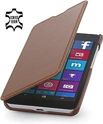 StilGut® Book Type Case senza clip, custodia in vera pelle a libro per Microsoft Lumia 535, cognac