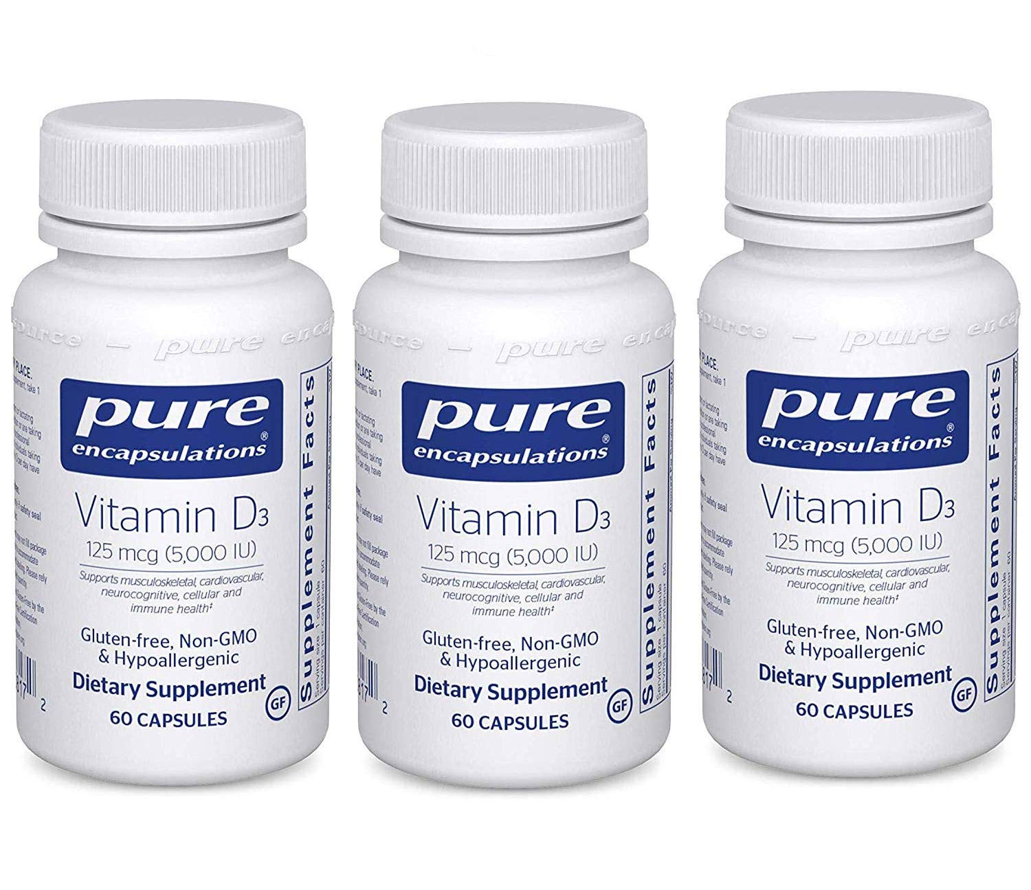 Pure Encapsulations Vitamin D3 5,000 IU Supports Musculoskeletal, Cardiovascular, Neurocognitive, Cellular and Immune Health (60 Capsules) Pack of 3