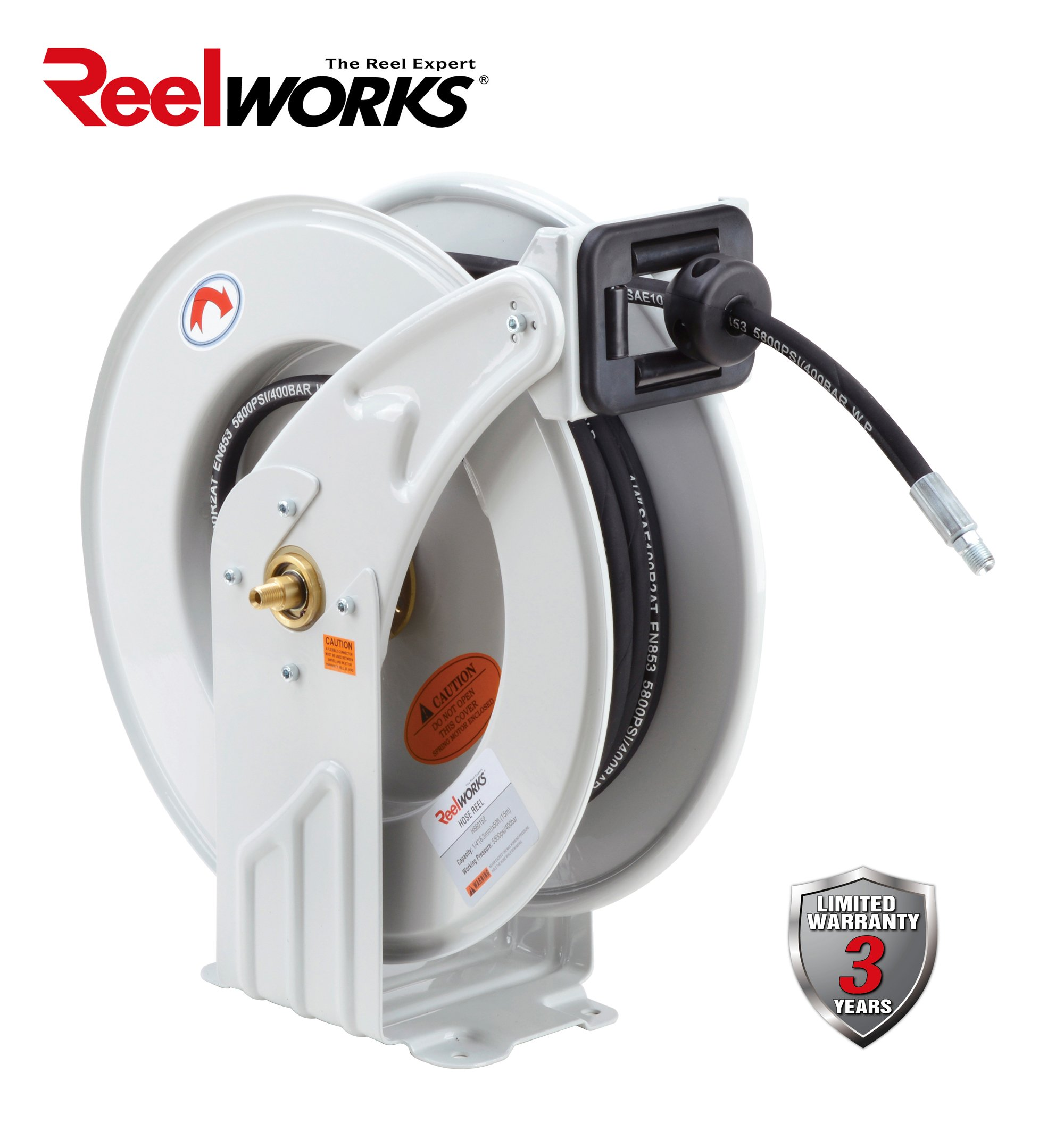REELWORKS Heavy Duty Spring Driven Hose Reel (1/4'' x 50 Ft. GREASE REEL)