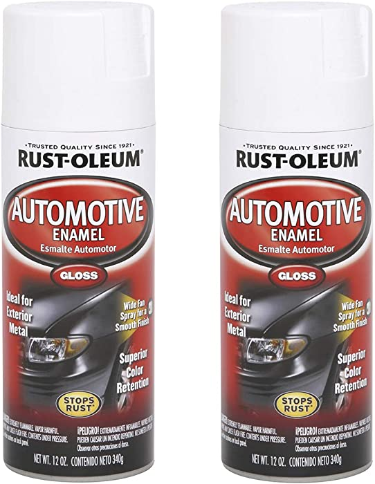Rust-Oleum 252468A2 Automotive Enamel Spray Paint, 2 Pack, Gloss White, 24 Ounce