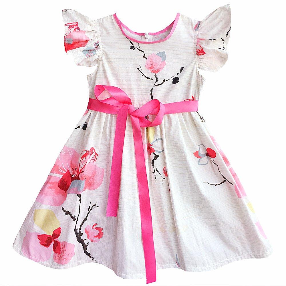 Kseniya Kids Big Little Girls' Petal Print Dresses Flower Ribbons Girl Princess Dress (7-9y)