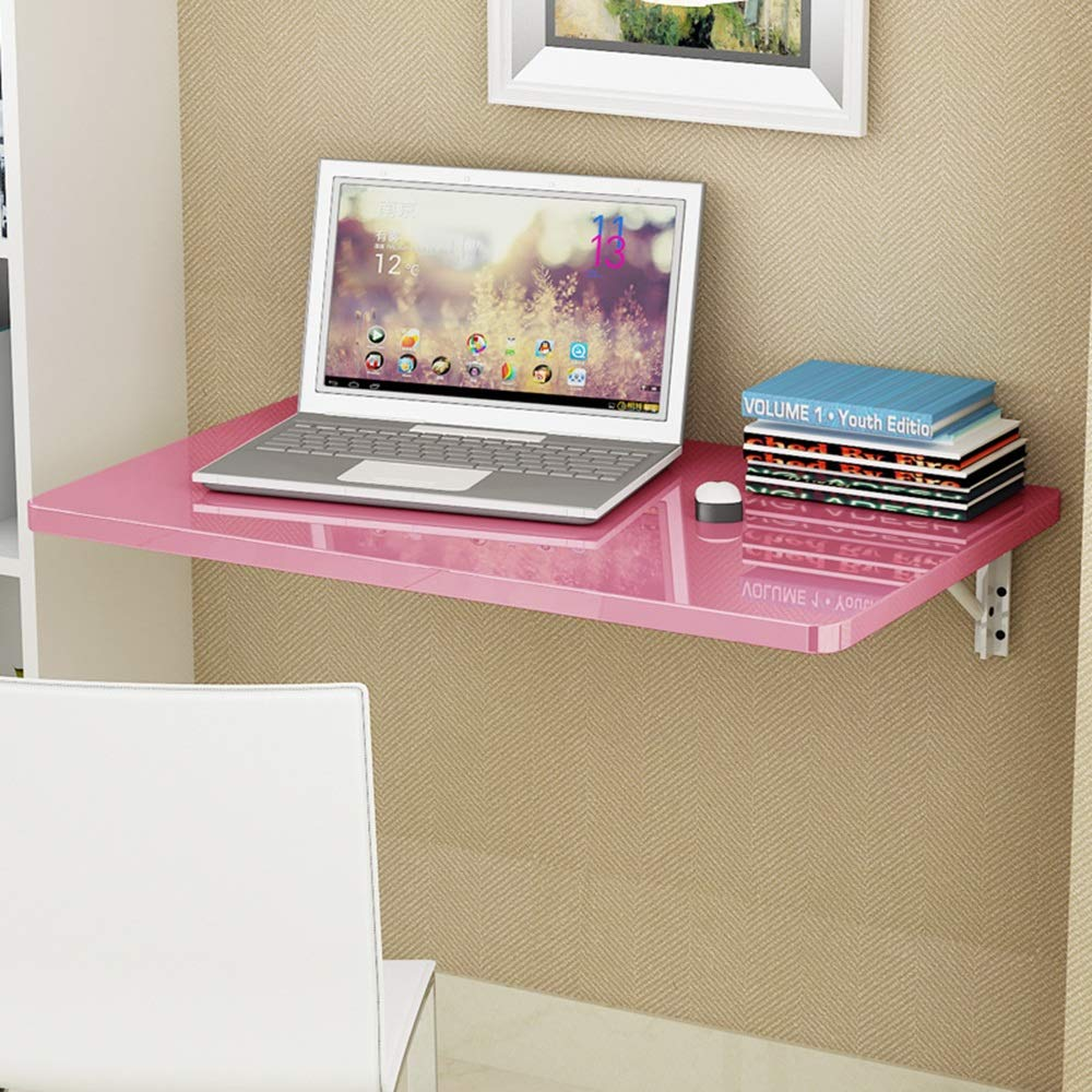 PINK 6050 cm Virod-Desks Wall Folding Table Wall-Mounted Drop-Leaf Table, Foldable Kitchen Laundry Room, Piano Paint, 4 colors, Multiple Sizes Modern Style (color   Black, Size   60  50 cm)
