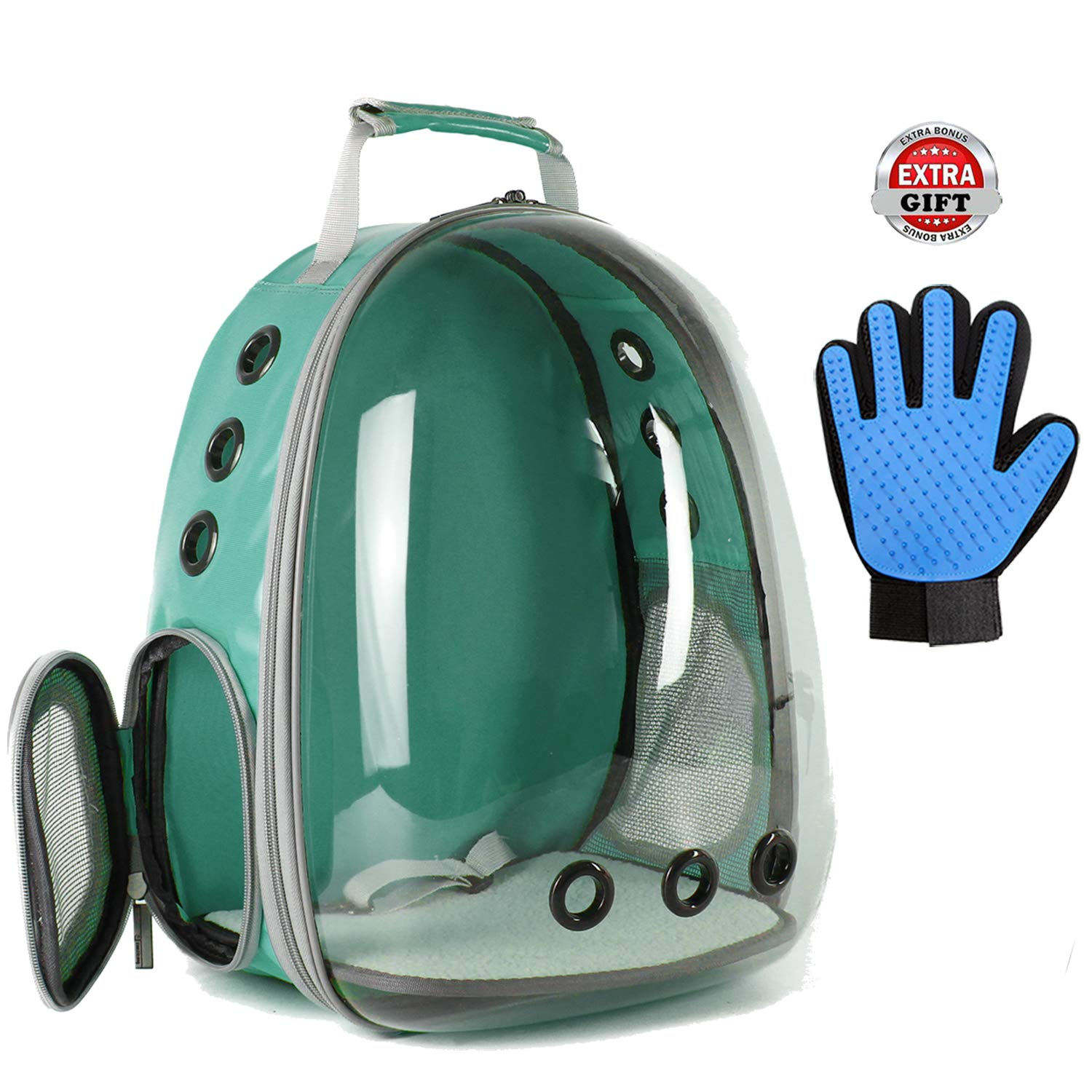 Hcupet Clear Cat Backpack, Airline Approved Space Capsule Transparent Waterproof Cat Carrying & Holding Outdoor Backpack - Green