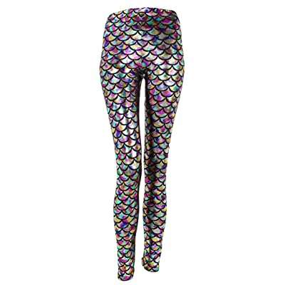 Ayliss New Mermaid Fish Scale Printed Leggings Stretch Tight Pants at Amazon Women's Clothing store