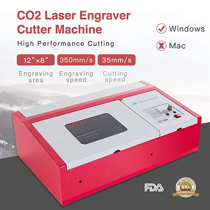 SUNCOO K40 Laser Cutter 12x8 in Desktop DIY 40W CO2 Laser Engraving Machine  Glass Wood Leather Acrylic Cutting Machine with Air Exhaust Fan USB Port