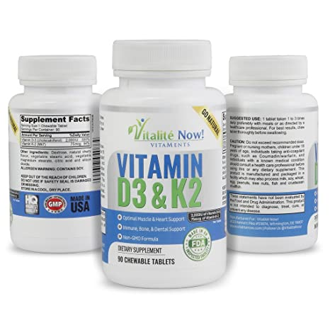 Amazon.com: Best Vitamin D3 2000 IU + K2 - Optimized Absorption in Best Form MK7 for Strong Bones & Healthy Heart - All Natural - Cherry Flavor - Non-GMO ...