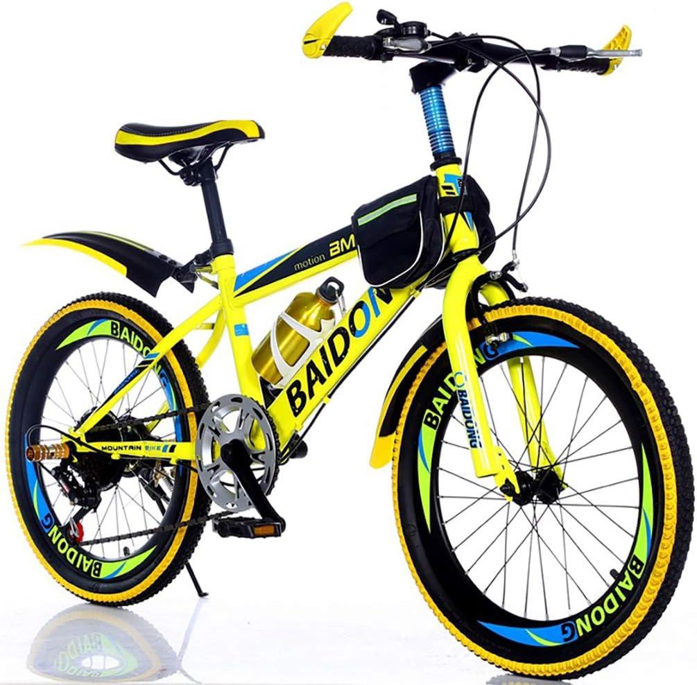 YAOXI Bicicleta De Montaña con Suspensión Amortiguación Horquilla, Bolsillo del Marco Y Sostenedor De Botella De Agua 6 Engranajes Pinza De Freno V Freno Niño-Niña Bicicleta,Amarillo,20Inch
