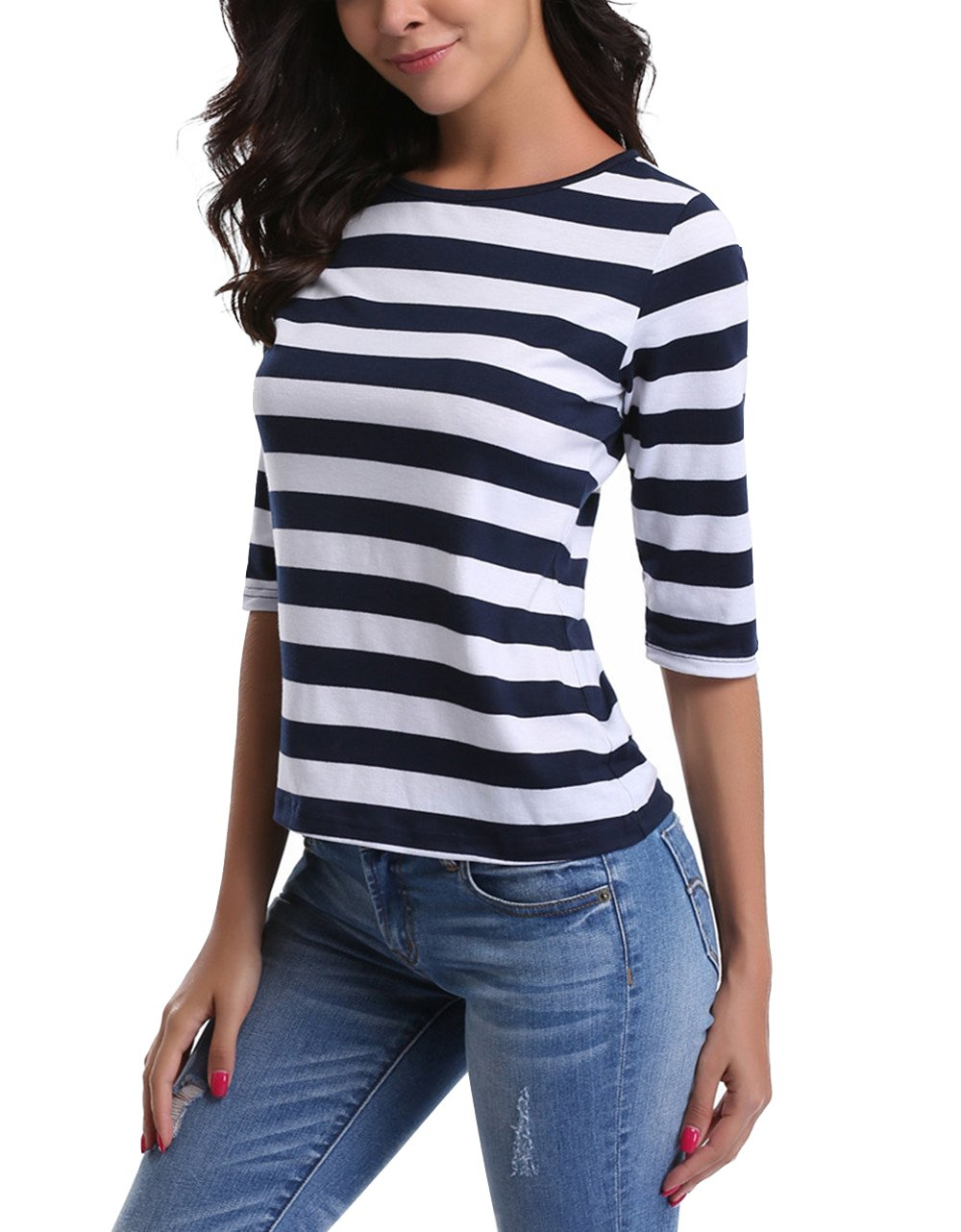 MISS MOLY SHIRT レディース B0756TNRC2 S|Dark Blue Medium Stripe Dark Blue Medium Stripe S