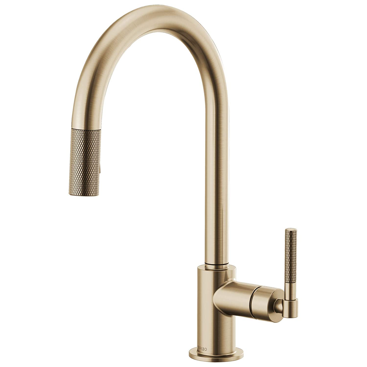 Brizo 63043LF-GL Litze Pull-Down Faucet with Arc Spout and Knurled Handle In Luxe Gold