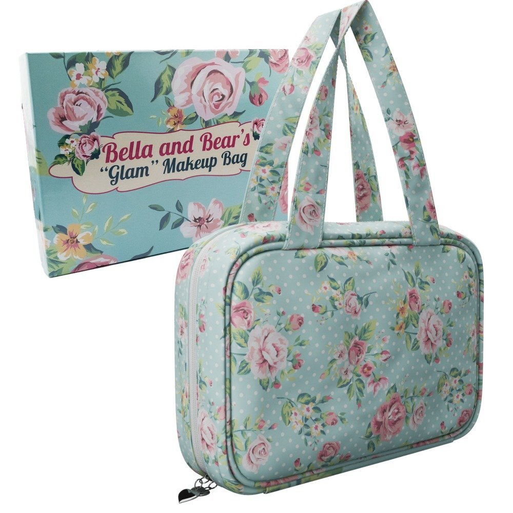 Travel Makeup Bag By Bella and Bear - the Glam Make up Bag Features 4 Clear Zipped Pockets And A Handy Hook For Hanging B1091