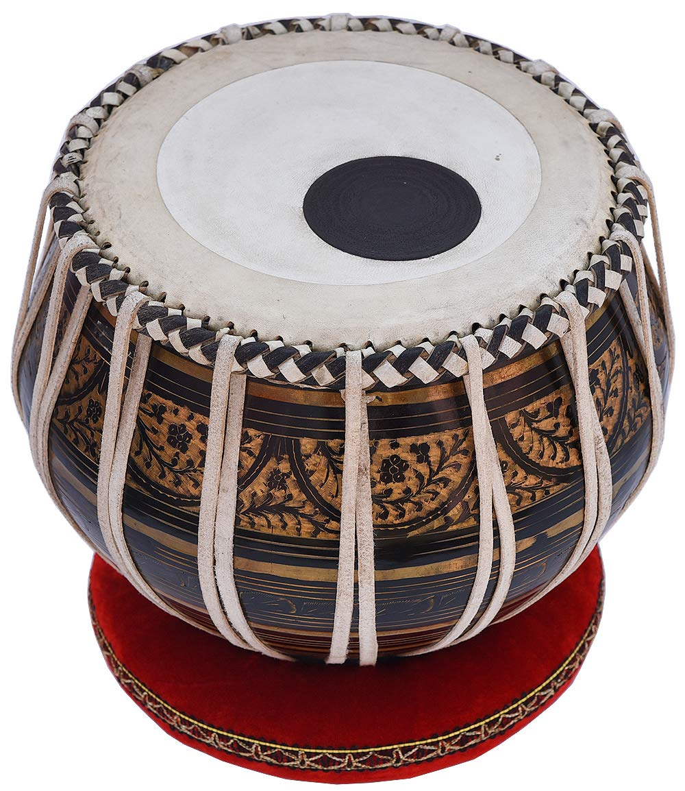 Tabla Drum Set, 2.5 Kg Black Painted Designer Brass Bayan, Beautiful Look, Sheesham Wood Dayan, Hand Made Drum Skin, Camel Leather Strap to Tune, Comes with Tuning Hammer, Gig Bag, Cushion & Cover by Kaayna Musicals (Image #3)