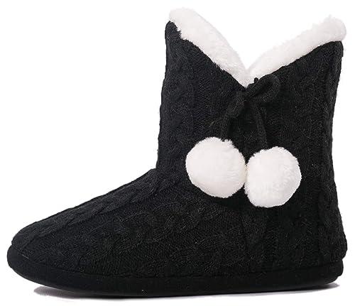 Pantuflas para Mujer Zapatillas de Estar por casa de Mujer con Bordes del Tejido de Punto y Pompons Airee Fairee: Amazon.es: Zapatos y complementos