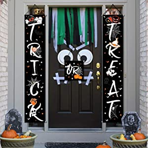 OurWarm Trick or Treat Halloween Banner Set, 3pcs Colorful Halloween Decorations Outdoor Signs for Home Garden Office Porch Front Door Hanging Decor