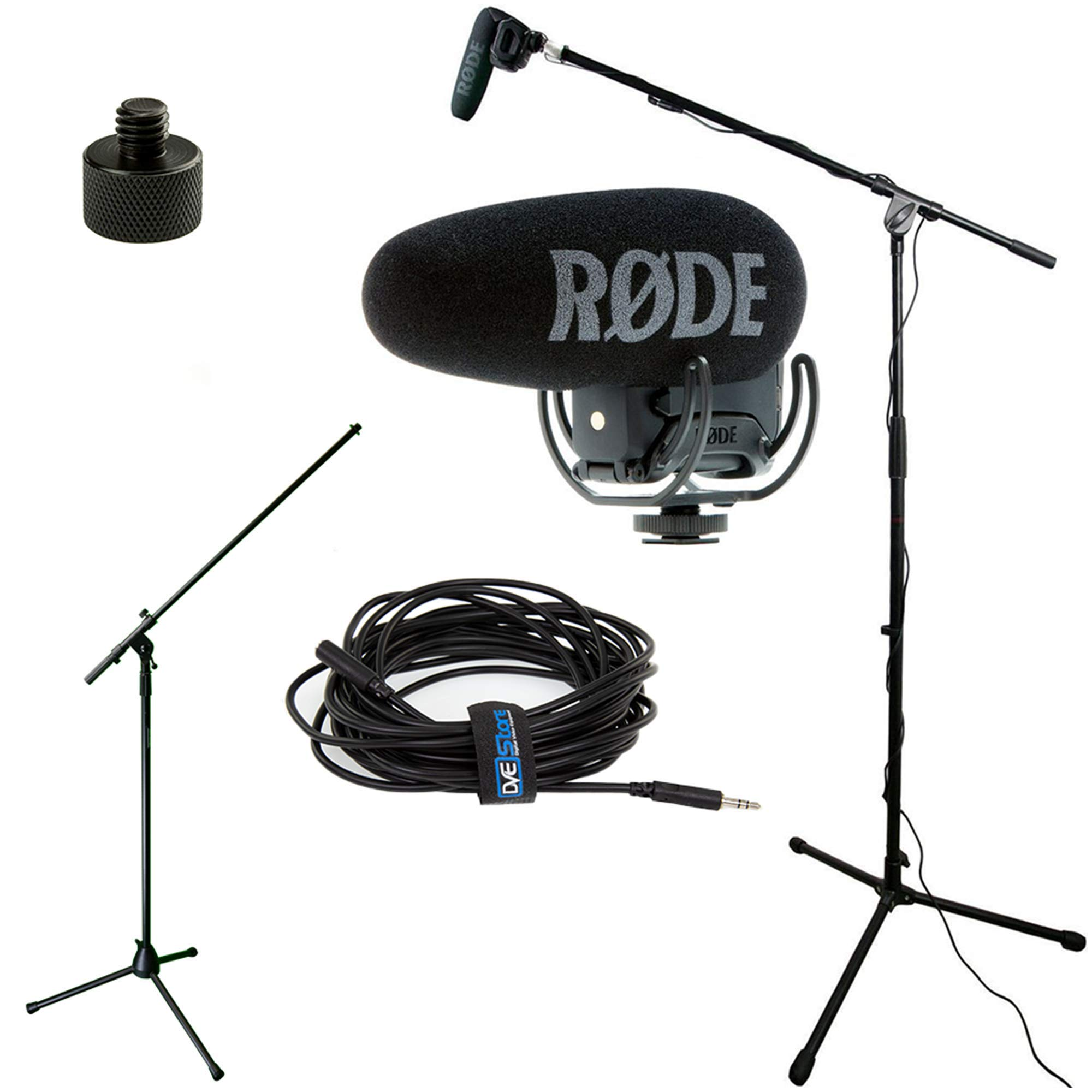 RODE VideoMic Pro+ w/ Rycote Studio Boom Kit - VMP+, Boom Stand, Adapter, and 25' Cable by DVEStore