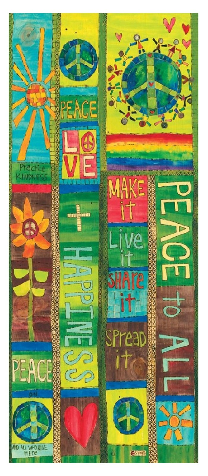 Studio M Garden Outdoor Decor Stephanie Burgess Art Pole (Peace and Love) by Studio M