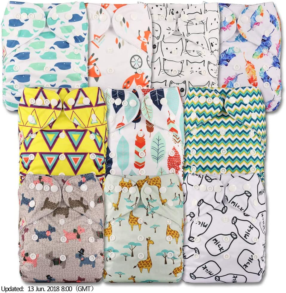 Reusable Pocket Cloth Nappy Littles /& Bloomz with 20 Bamboo Charcoal Inserts Fastener: Popper Patterns 1010 Set of 10