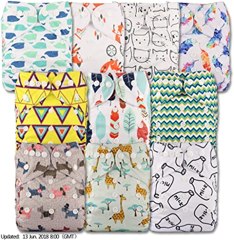 Reusable Pocket Cloth Nappy Littles /& Bloomz Set of 1 Without Insert Pattern 8 Fastener: Popper